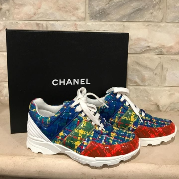 9f8d499cc38f Chanel 17S Blue Red Yellow Tweed CC Lace Up Flat Boutique